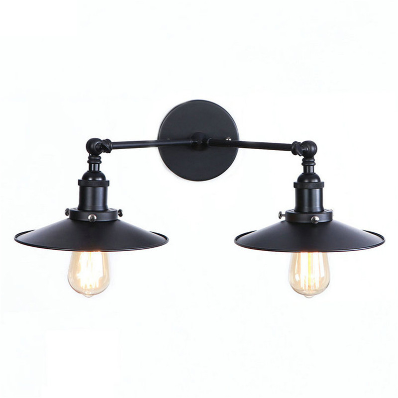 2 Heads Black Edison Wall Sconce Arm Home Lighting Adjustable Arm Retro Vintage Wall Lamp LED Stair Light Wandlamp brass glass wall lights led vintage edison american home stair lighting living room adjustable arm industrial wall lamp sconce