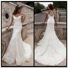 New Arrival Lace Mermaid Wedding Dress 2019 Vestidos De Novia Illusion Back Custom Made Gowns Sweep Train Bridal Dresses