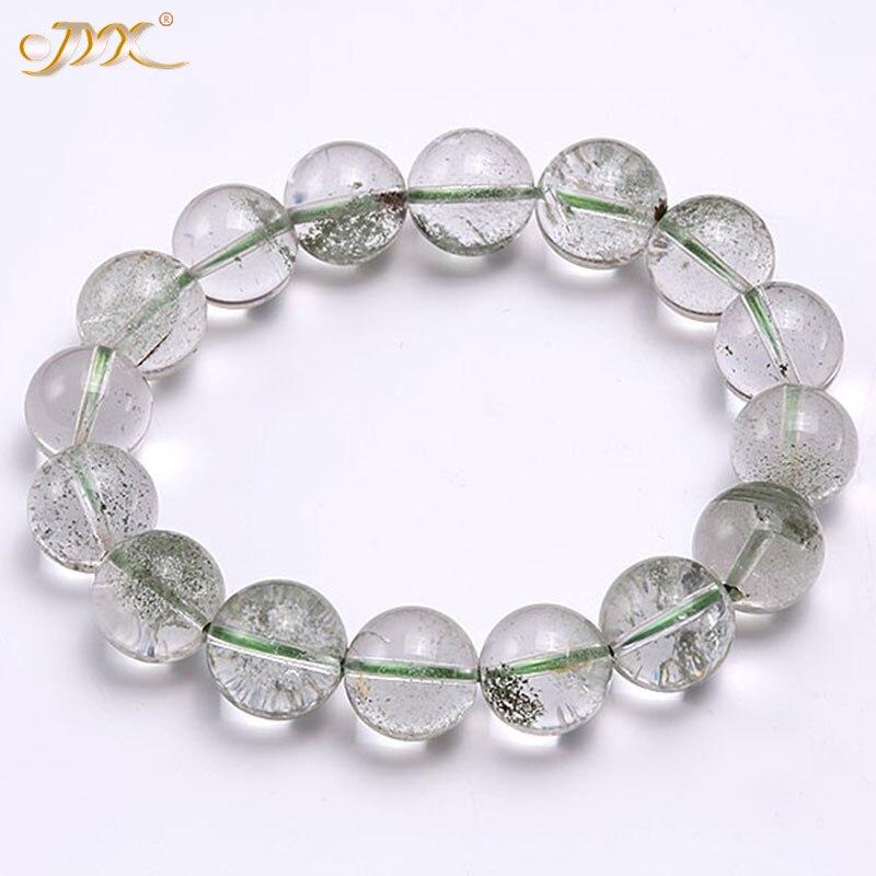 JYX Bracelet élastique en cristal fantôme naturel 13mm perles rondes en cristal vert Bracelet fil accessoire d'été 8
