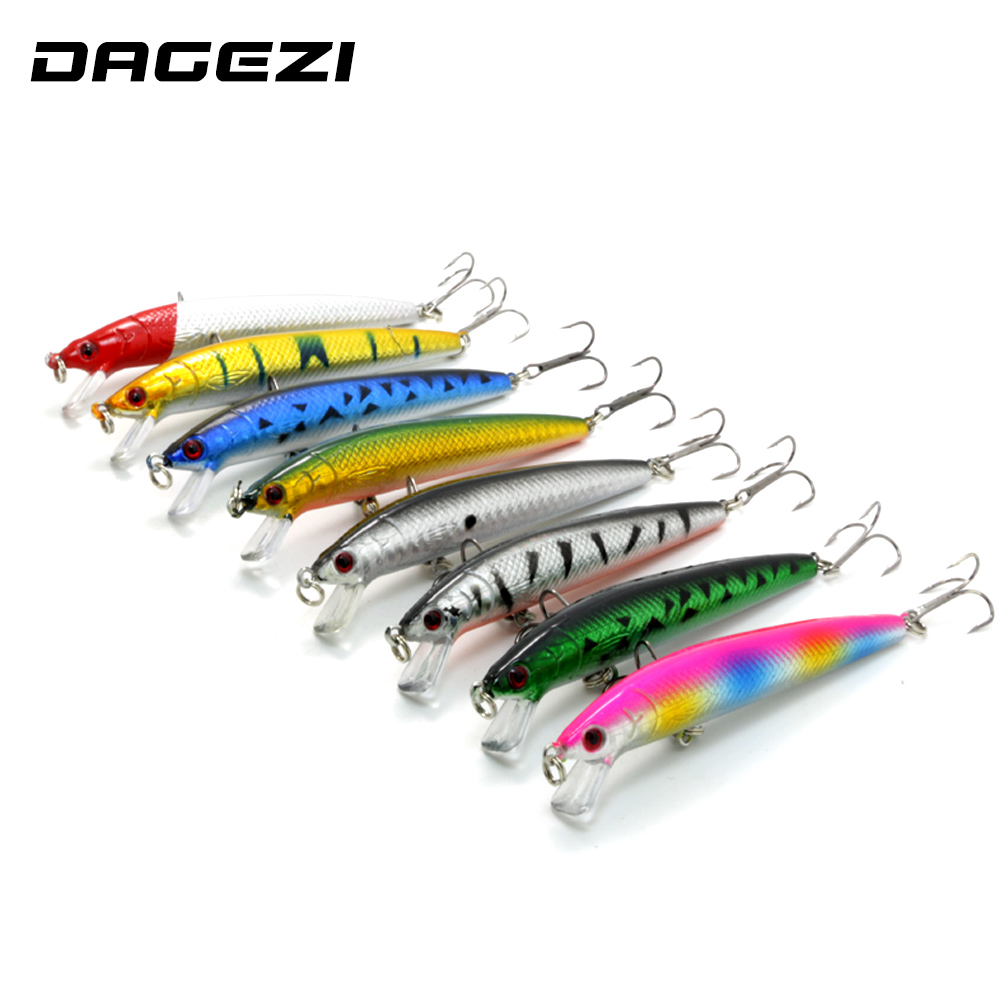 DAGEZI New 8pcs/lot 12CM/8G  Fishing lure hard bait artificial baits minnow fishing wobbler  pesca Laser painting 3D eyes купить