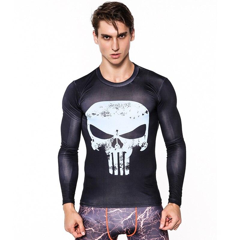 Rashgard Running Shirt Sport Shirt Men Punisher Gym Long Sleeve Compression Shirts Crossfit Tight Fitness Dry Fit T Shirt Men
