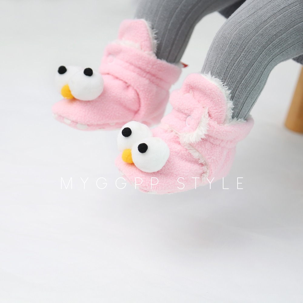 Delebao High-top Warm Baby Shoes Winter Boots Cute Big Eyes Design Cotton Bottom
