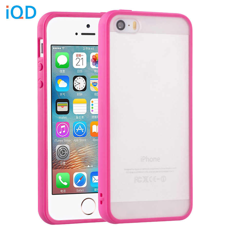 brand new 9497a a6227 IQD Slim color TPU Phone Case For Apple iPhone 4 4S SE 5S 5 Case Cover  Anti-Scratch Bumper Clear Scrub Back Protective shell se