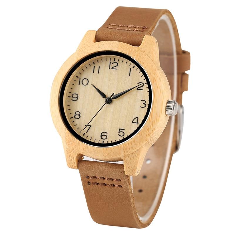 Minimalist Arabic Numerals Bamboo Women Watches Wooden Genuine Leather Band Ladies Wristwatch Fashion Quartz Clock Girl Gift