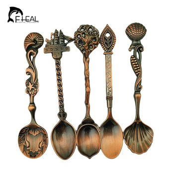Fhear 5 pçs/set estilo real do vintage bronze esculpida pequenas ferramentas de café talheres cozinha jantar barra ferramentas