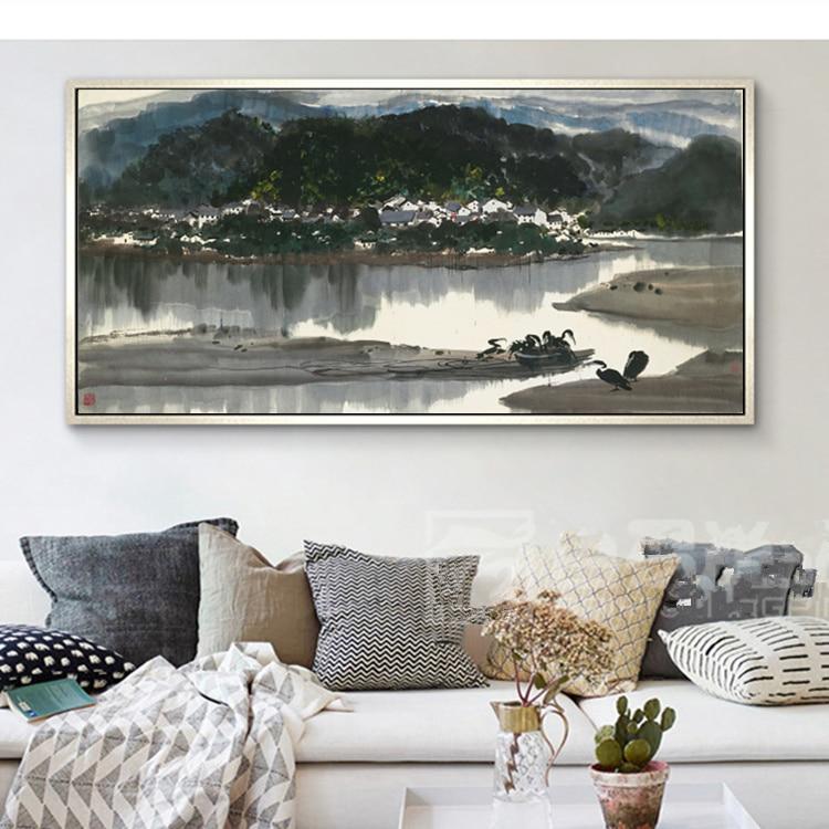 Wu Guanzhong kinesiska bläckmålning HD-utskrifter på Canvas Wall - Heminredning - Foto 5