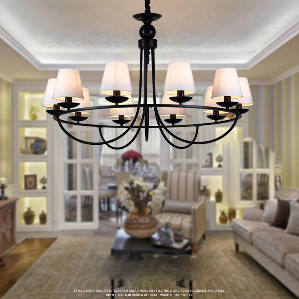 led e14 Rustic American Iron fabric LED Lamp LED Light Pendant Lights Pendant Lamp Pendant Light For Bedroom Dinning Room Foyer free shipping pendant lights rustic white candle iron 3 5 6 white lamps foyer pendant light restaurant dining pendant lamp