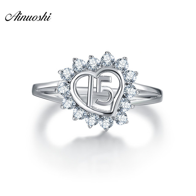 Ainuoshi 925 Sterling Silver Numbers Heart Shaped Wedding Rings Round Cut Anillo De Plata Las