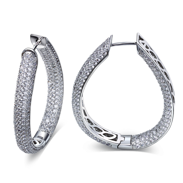 Free Shipping AAA CZ large hoop earrings double sided earring Woman's Party Hoop Earrings white gold plated jewelry