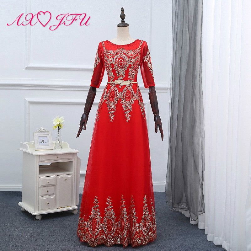 AXJFU red lace beading crystal pearls evening dress new style gold powder banquet long princess golden