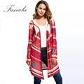 Fanala largas rebecas geométrica impresión de manga larga outwear caliente y un suéter con capucha de punto asimetría casual escudo rojo