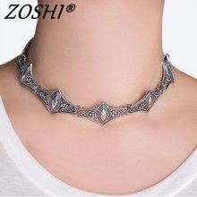 ZOSHI 2017 New Tibetant Silver Necklaces Goth Fashion Designer Maxi Collar Chokers Necklace For Women Factory Wholesale Bijoux