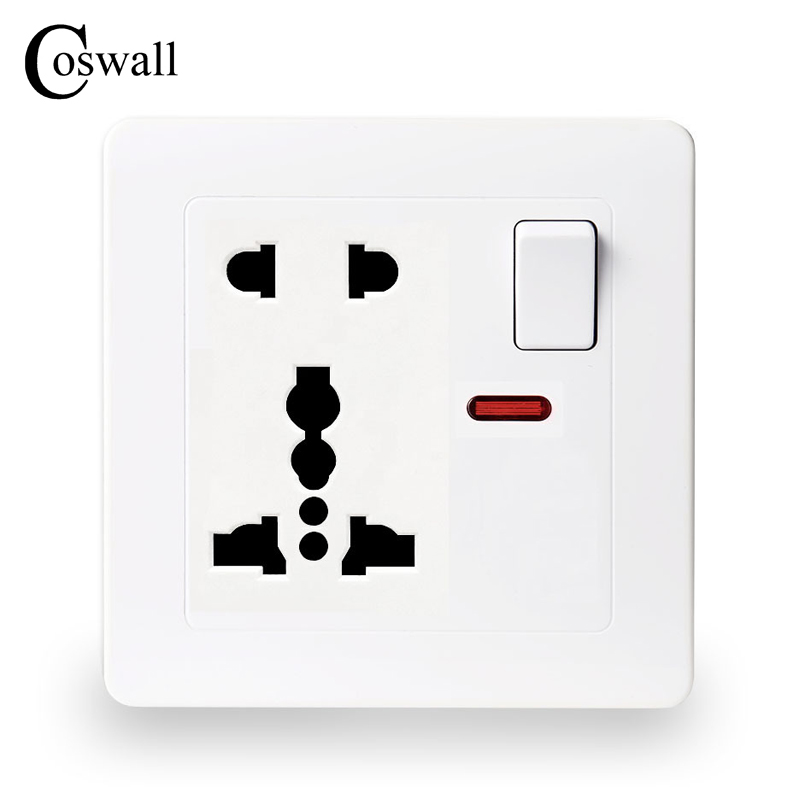 coswall-wall-power-socket-13a-1-gang-universal-5-hole-switched-outlet-with-red-neon-indicator