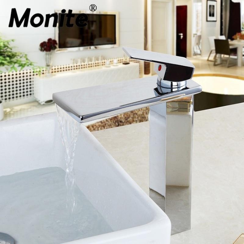 Chrome Brass Tap Polish Ceramic Valve Stream Waterfall Spout Countertop Faucet  Kitchen Sink Bathroom Basin Sink Mixer Taps