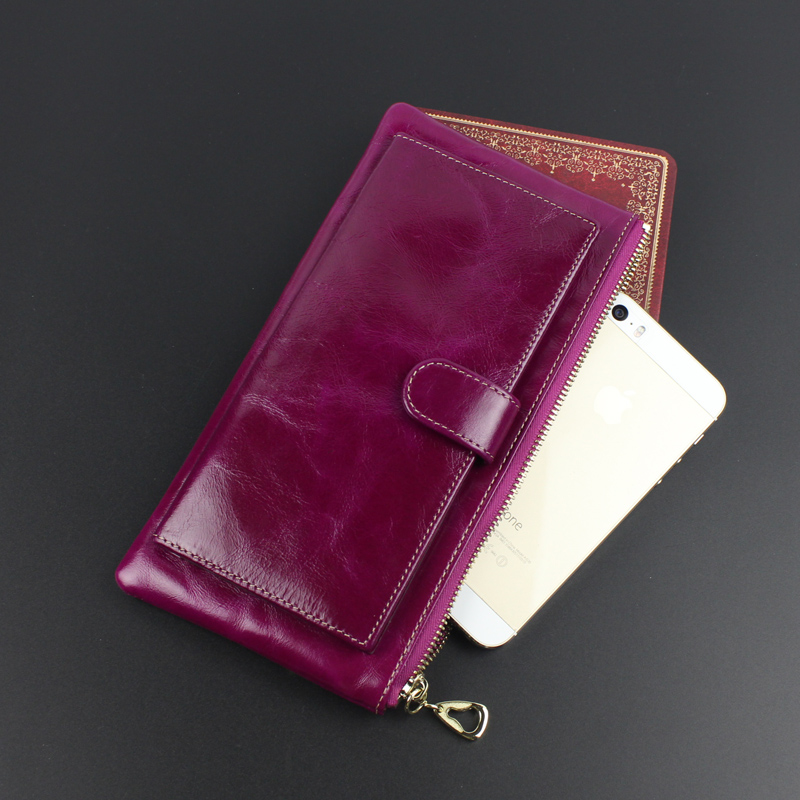 font b women b font genuine leather font b wallet b font oil wax clutch