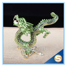 Chinese Traditional Dragon Pewter Material Czech Crystallized Dragon Figurine Display Gifts & Decor Dragon Chinese Dragon