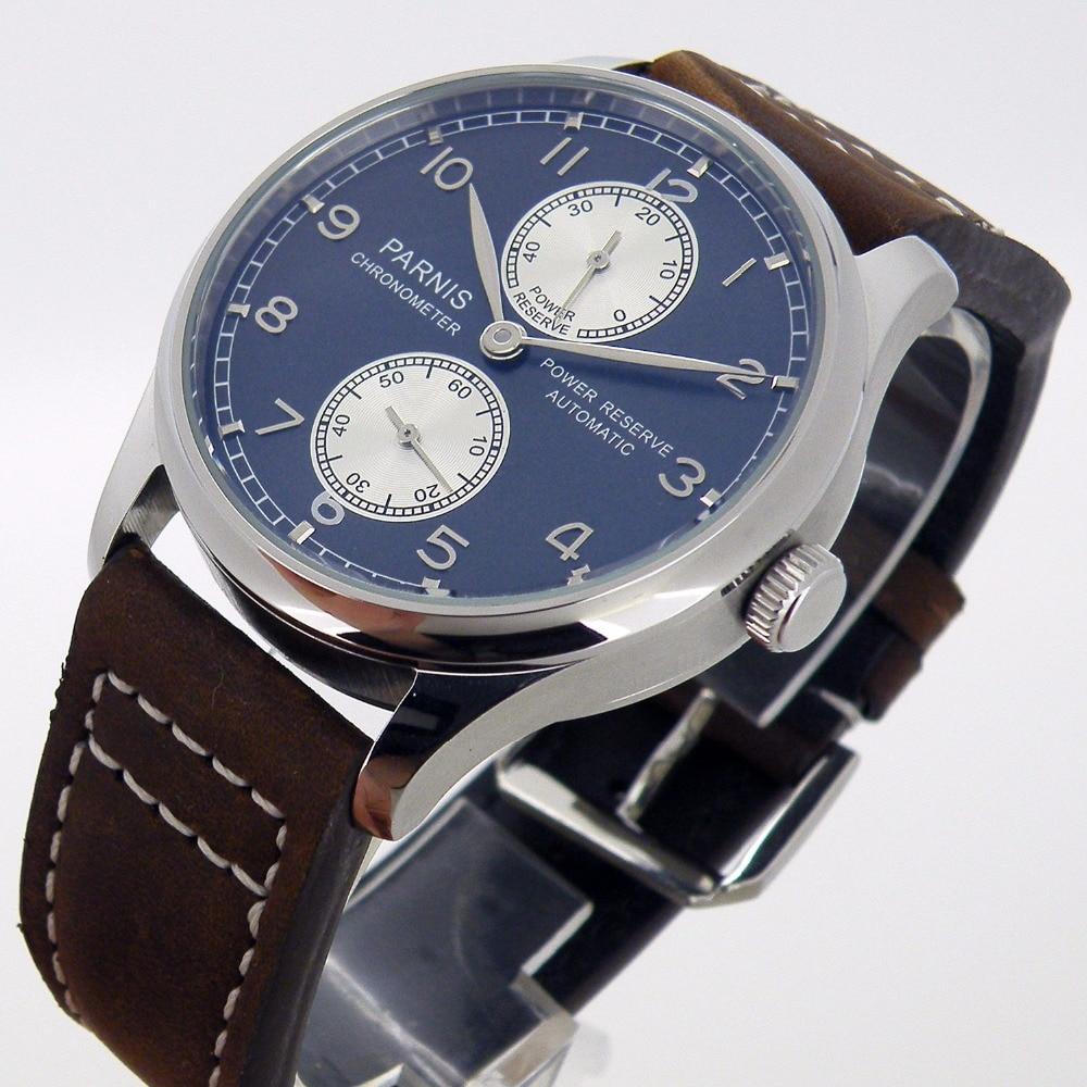 43MM PARNIS Men's Waterproof Multifunction Watch Black Simple Mechanical Watch