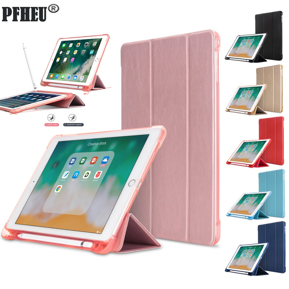 For iPad 2018 Case Pencil Holder Soft Silicone Back Trifold Stand Smart Case for iPad 9.7 2018 2017 Cover A1893 A1954 Tablet image