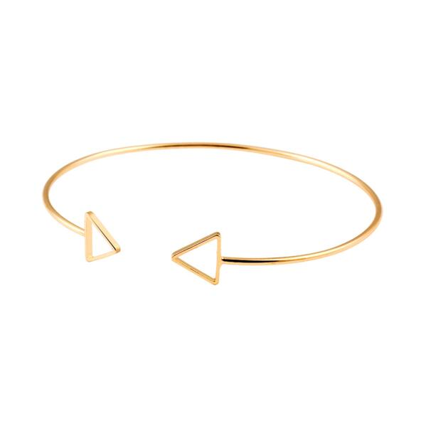Trendy Geometric Double Triangle Bangle Alloy Plated Gold Si