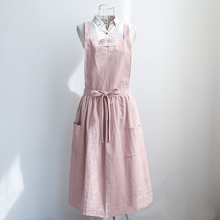 fashion Women Bib Apron Cotton Linen Sleeveless Pinafore Dress Home Cooking Florist Cute Apron