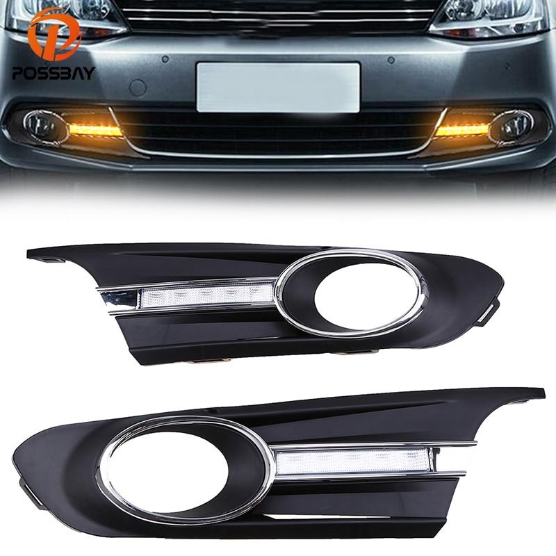POSSBAY Car Styling Daytime Running Light Fit for VW JETTA MK6(Typ 5G) 2011-2013 Pre-facelift Fog Light Lamp Cover Grille