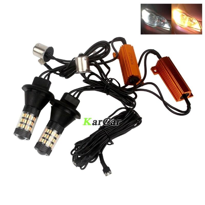 1156 4014 LED 60SMD clignotant de voiture 7506 ampoule diurne 12V BA15S P21W lampe inversée 1003 1141 feu arrière blanc/ambre