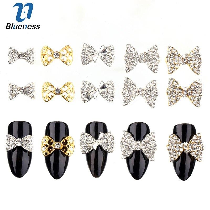 Blueness 10Pcs/lot Nails Rhinestones Bow Design Manicure Nai