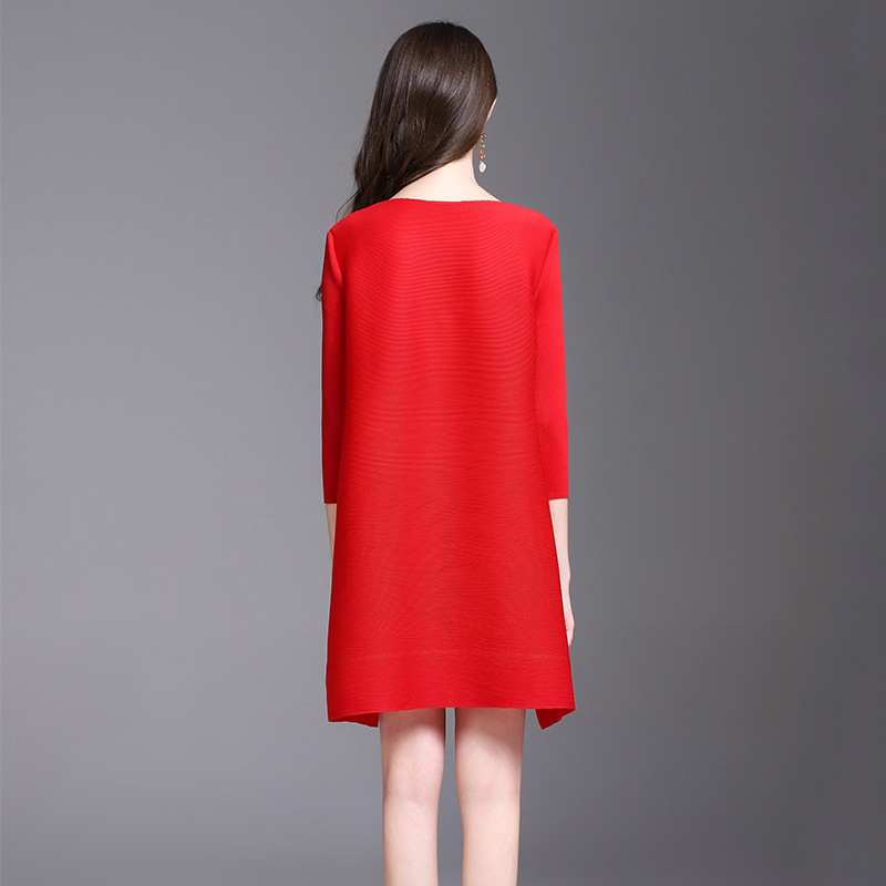 Rouge Appliques Robes Été Miyake vert rouge Azterumi Lâches Nouvelle Pour Issey Trois Manches Mini Printemps Robe Noir Trimestre Noir Femmes Vert qSOc1a4