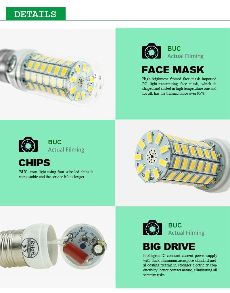 ECO CAT 2017 Full NEW LED lamp E27 E14 69leds 72leds 106leds SMD 5730 Corn Bulb 220V lamparas led Chandelier LED Spotlight 8