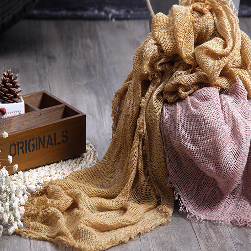 200*90 Cm High Quality Linen Scarf Fabric Soft Newborn Baby Photography Filling Tassels Wrap, Newborn Photo Prop Blanket