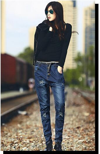 Korean style cotton boyfriend women jeans fashion cowboy denim cross-pants sexy low waist ripped washed hole sequined jeans D61