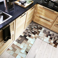 цена на Nordic ins style marble Wood grain square Leather kitchen waterproof mat Bedroom strip carpet Bathroom door mat PVC leather rug