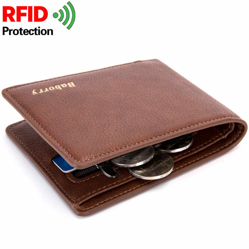 181a8fd96ed7 2019 Rfid Wallet Man Slim Theft Design Coin Bag Men Wallets Male PU ...