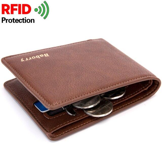 6d1cd35117bd Новые Rfid кошелек человек тонкий кражи сумка дизайн монеты Для мужчин  кошельки Мужской PU небольшие деньги