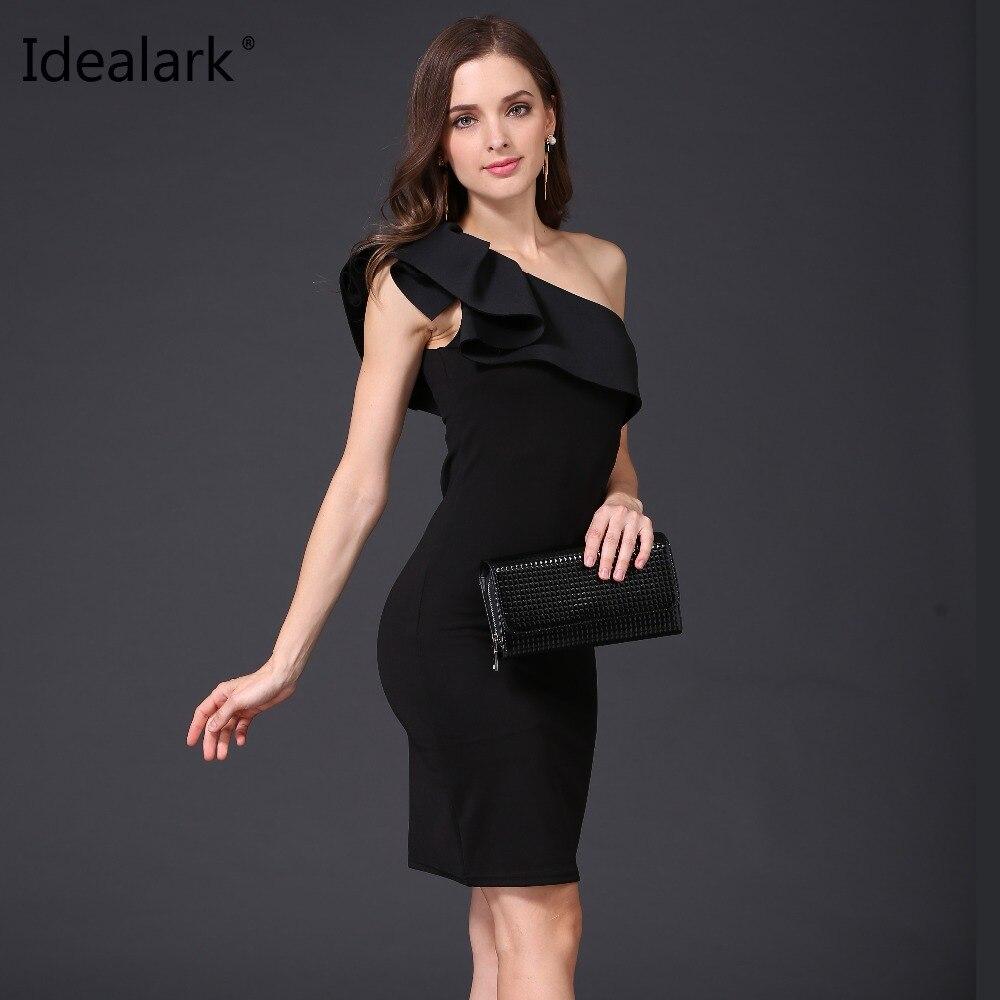 47f6f0e8c Idealark sexy Ruffles mujeres Vestidos un hombro Delgado color sólido moda  casual vestido bodycon vestido sin mangas partido vestido en Vestidos de La  ropa ...
