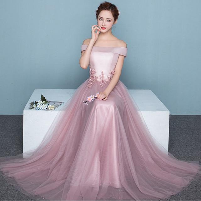 16260359c0c4 Hot Sale Pink Elegant Evening Dresses Red Off Shoulder Beaded Floral  Appliques Long Formal Party Gown Prom Dress Robe SoireeGF60