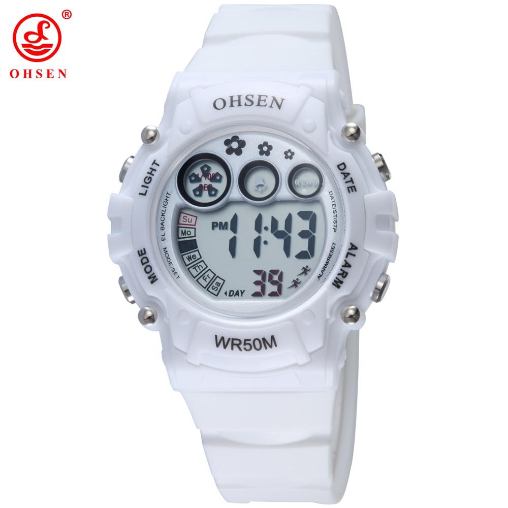 37364896d76 OHSEN Branco Mulheres Relógio Esportivo Pulseira de Plástico Cor de Geléia  Bonito Relógios de Pulso Digital LED Relógios para Senhoras AS10 em  Mulheres ...