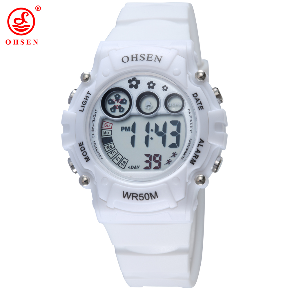 OHSEN White Women Sports Watch Plastic Strap LED Digital Wristwatches Jelly Color Cute Clocks Watches for Ladies AS10