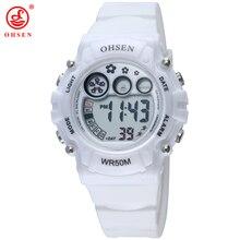 OHSEN белый Для женщин спортивные часы Пластик ремень светодиодный Цифровые наручные часы желе Цвет симпатичные часы для дам AS10