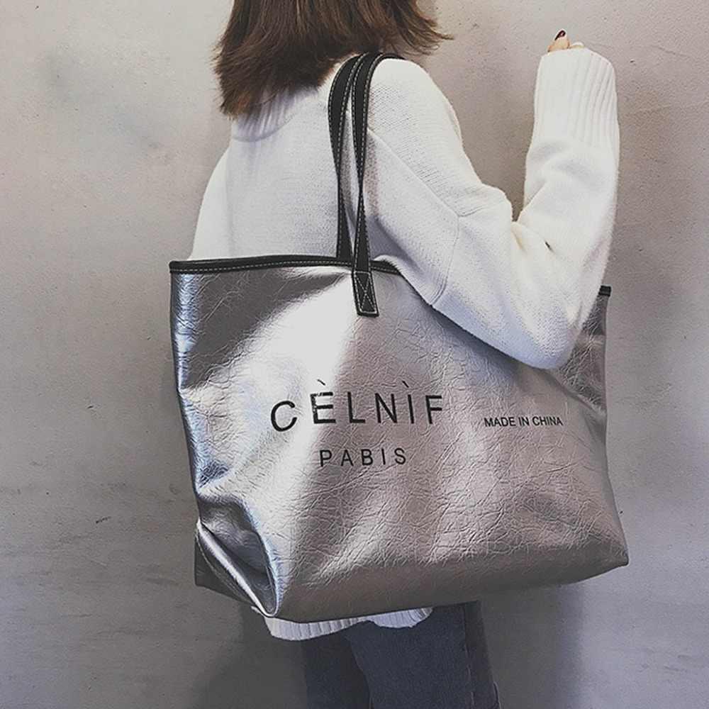 Yeni gümüş seyahat çantası moda baskılı mektup büyük kapasiteli çanta mumya çanta taşınabilir spor yoga çanta çanta