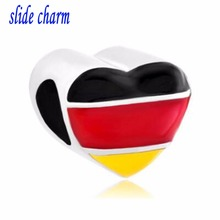 slide charm wholesale Free shippingHeart Charm Bracelet Germany Patriotic Flag Charm European Bead fit Pandora bracelet(China)