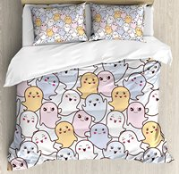 Doodle Duvet Cover Set Kawaii Ghosts with Various Facial Expressions Happy Scary Angry Smiling Cartoon Fun 4 Piece Bedding Set