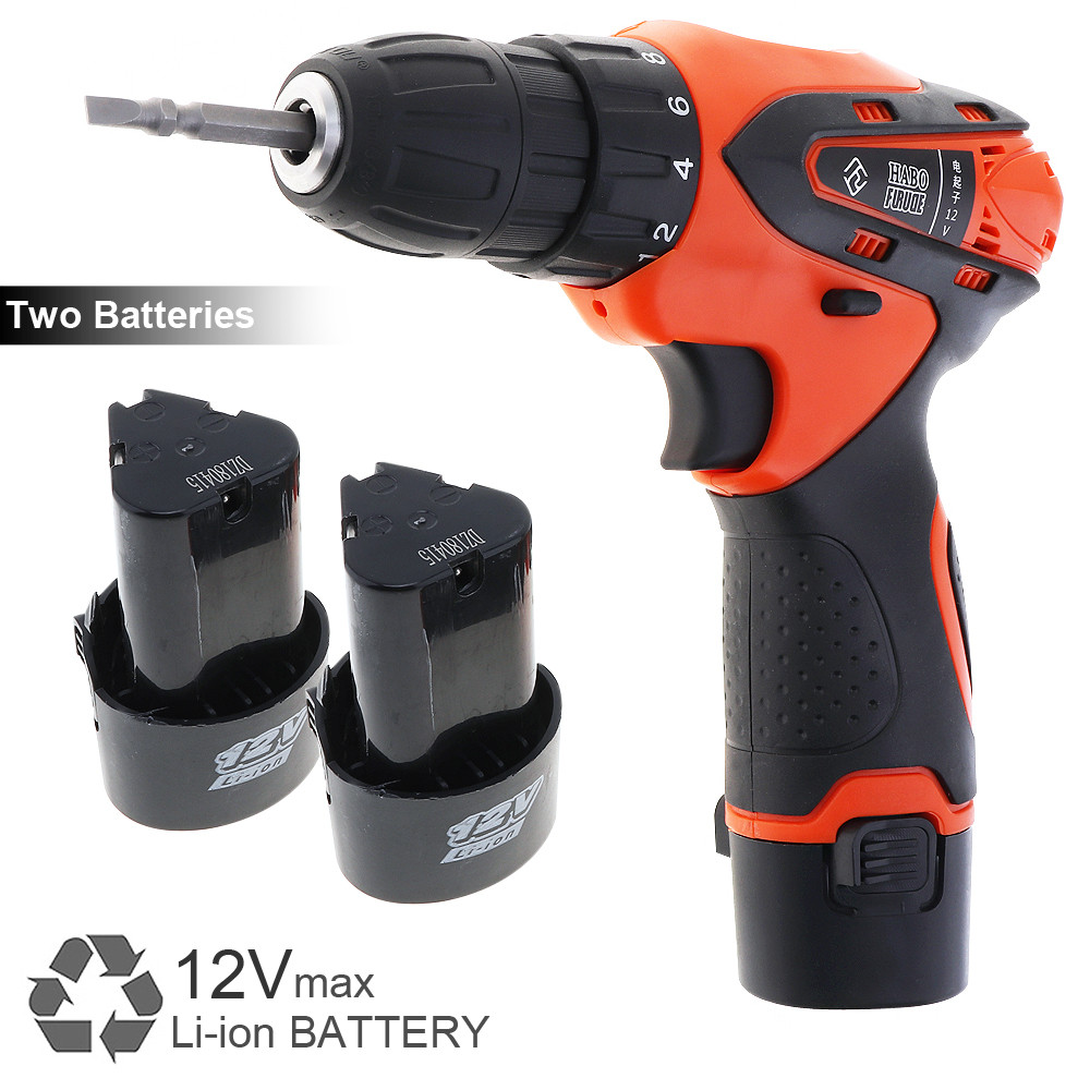 12V Cordless Electric Screwdriver Lithium Battery Rechargeable Electric Drill Power Tools with Rotation Adjustment Switch