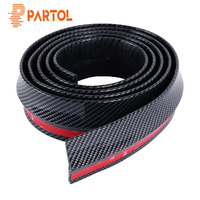 Partol 2.5M*6CM Black Soft Carbon Fiber Car Rubber Bumper Strip Outside Bumper Exterior Front Bumper Lip Kit Car bumper Strip