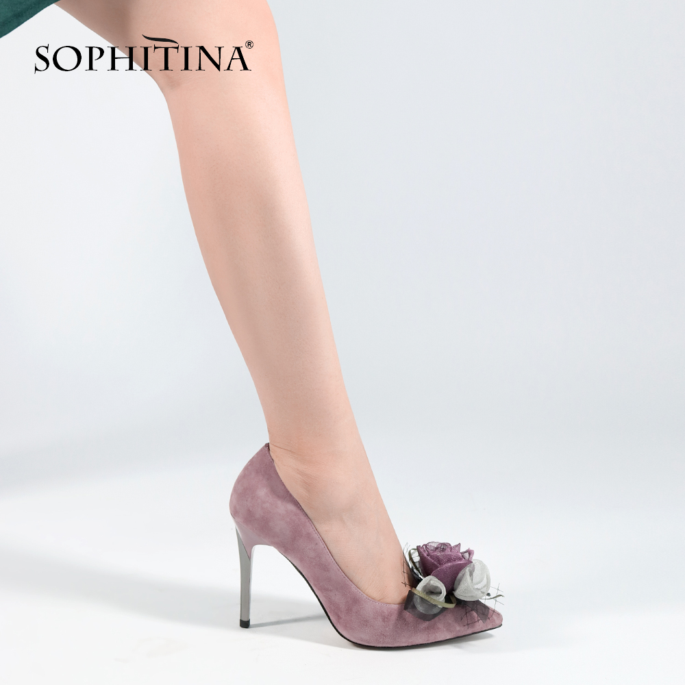SOPHITINA Fashion Flower Party Pumps Sexy Super High Thin Heels Pointed Toe Classics Shoes Handmade Comfortable Woman Pumps W27
