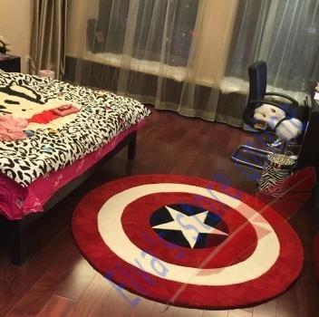 60cm British Flag Captain America Shield Carpet Cartoon Circle Handmade  Living Room Parlor Hallway Bathroom Mats