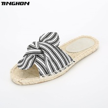Fashion Ethnic Casual Espadrilles Bow Flat New Women Spring Printed Stripe Slip on Fishermen Hemp Rope Shoes 35-43