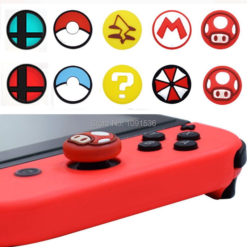 For Nintend Switch NS NX Joy Con Thumb Grip Set Joystick Cap for JoyCon Controller Analog Stick Pokeball Big chaos Grip-in Replacement Parts & Accessories from Consumer Electronics    1
