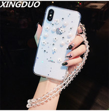 XINGDUO Phone Case For iphone 5 SE 6 6S 7 8 Plus X XS XR MAX  Luxury Bling Stars Diamond Pearl Flower Soft Back Cover