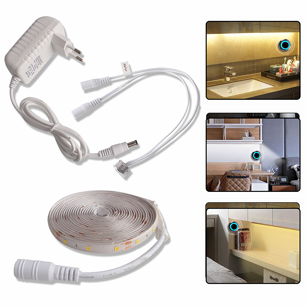 1M2M3M4M5M LED Under Cabinet Light LED Strip Light 12V Touch Sensor Switch Cupboard Bedroom Lighting (5)